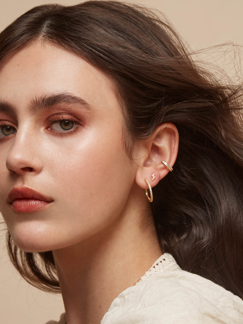 No Piercing Baguette Ear Cuff - Gold