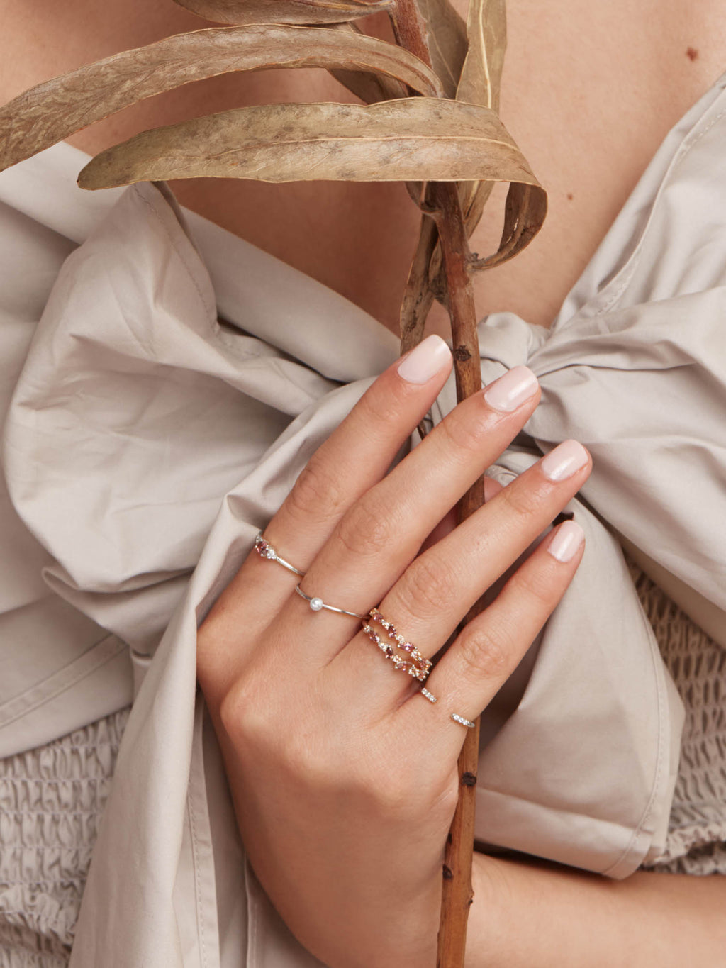 Cluster Ring - Silver + Pink