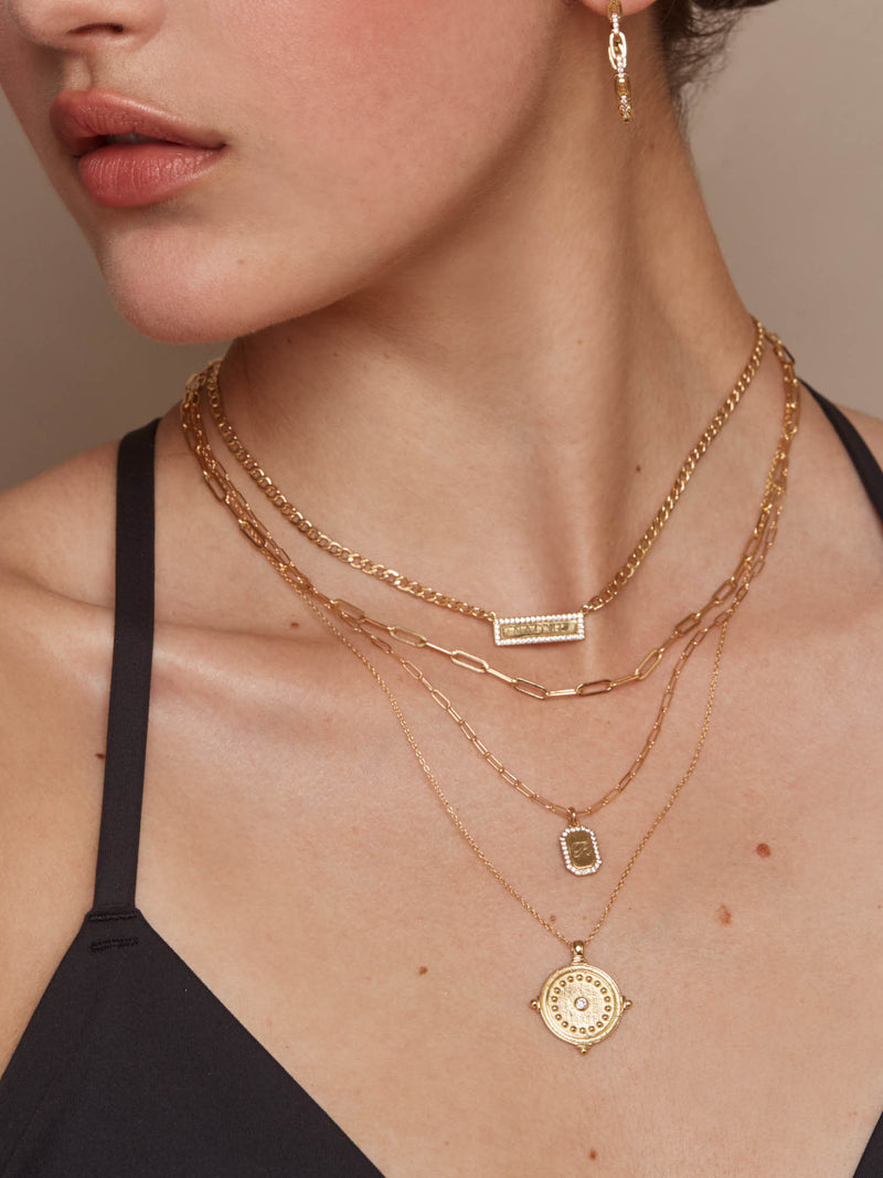 Cuban Link Sparkle Bar Necklace - Gold