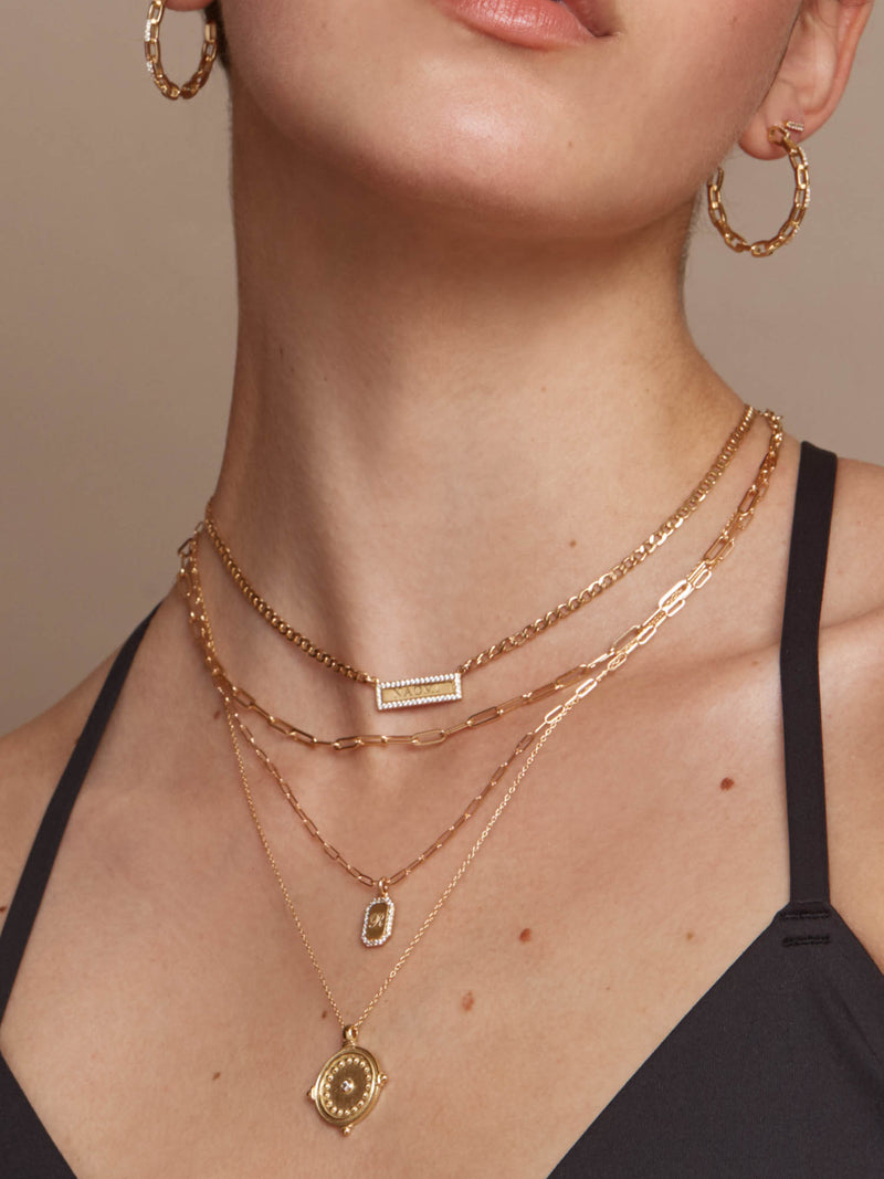 Sparkle Paperclip Tag Necklace - Gold