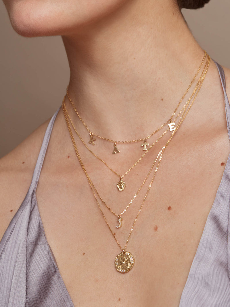 Block Name Necklace - Gold