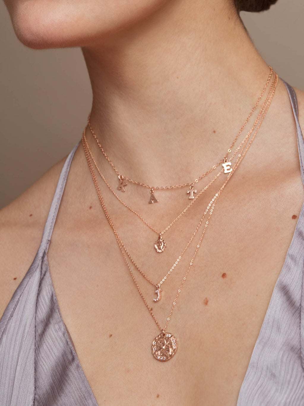 Sparkle Initial Necklace - Rose Gold