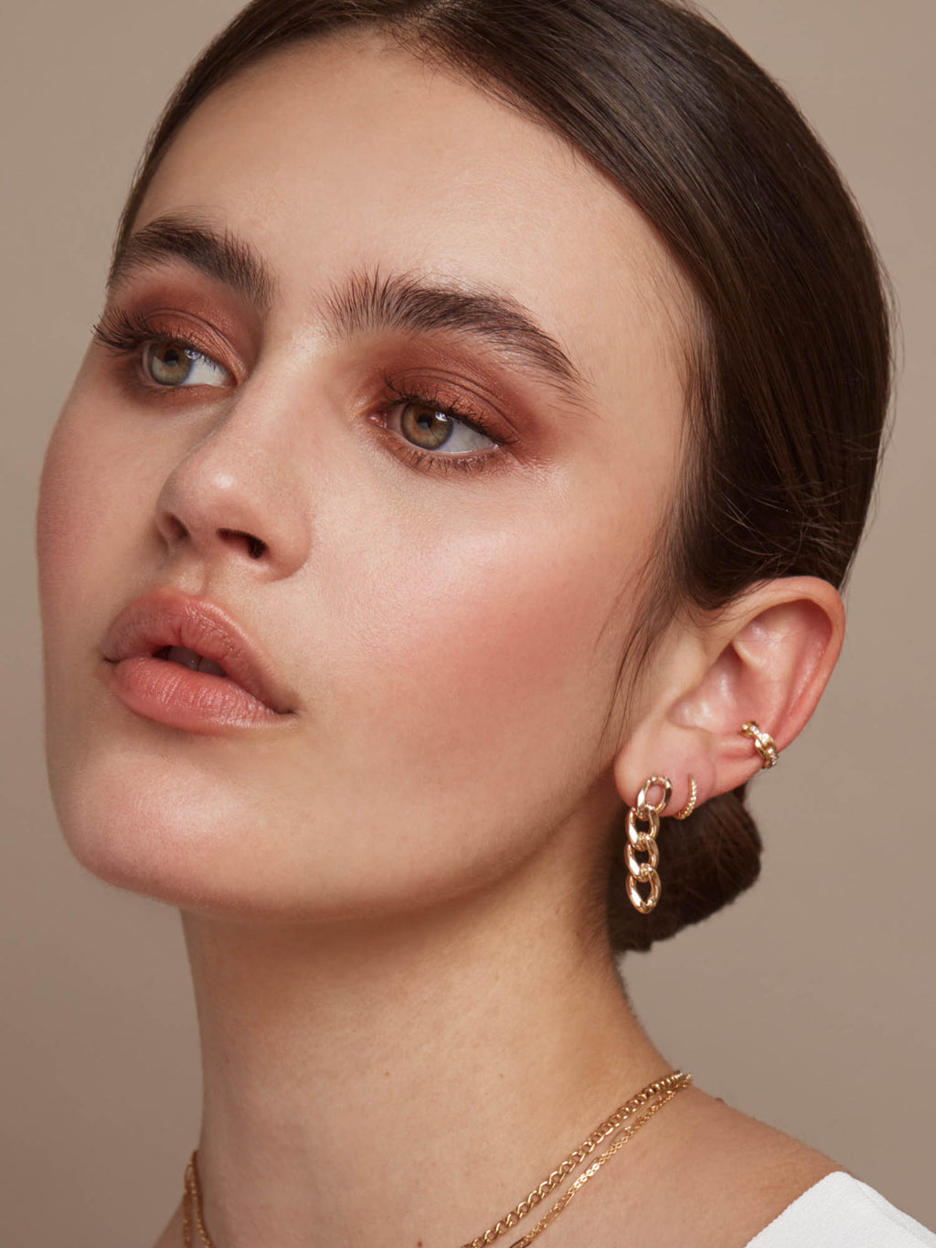 Paperclip Chain Ear Cuffs - Gold