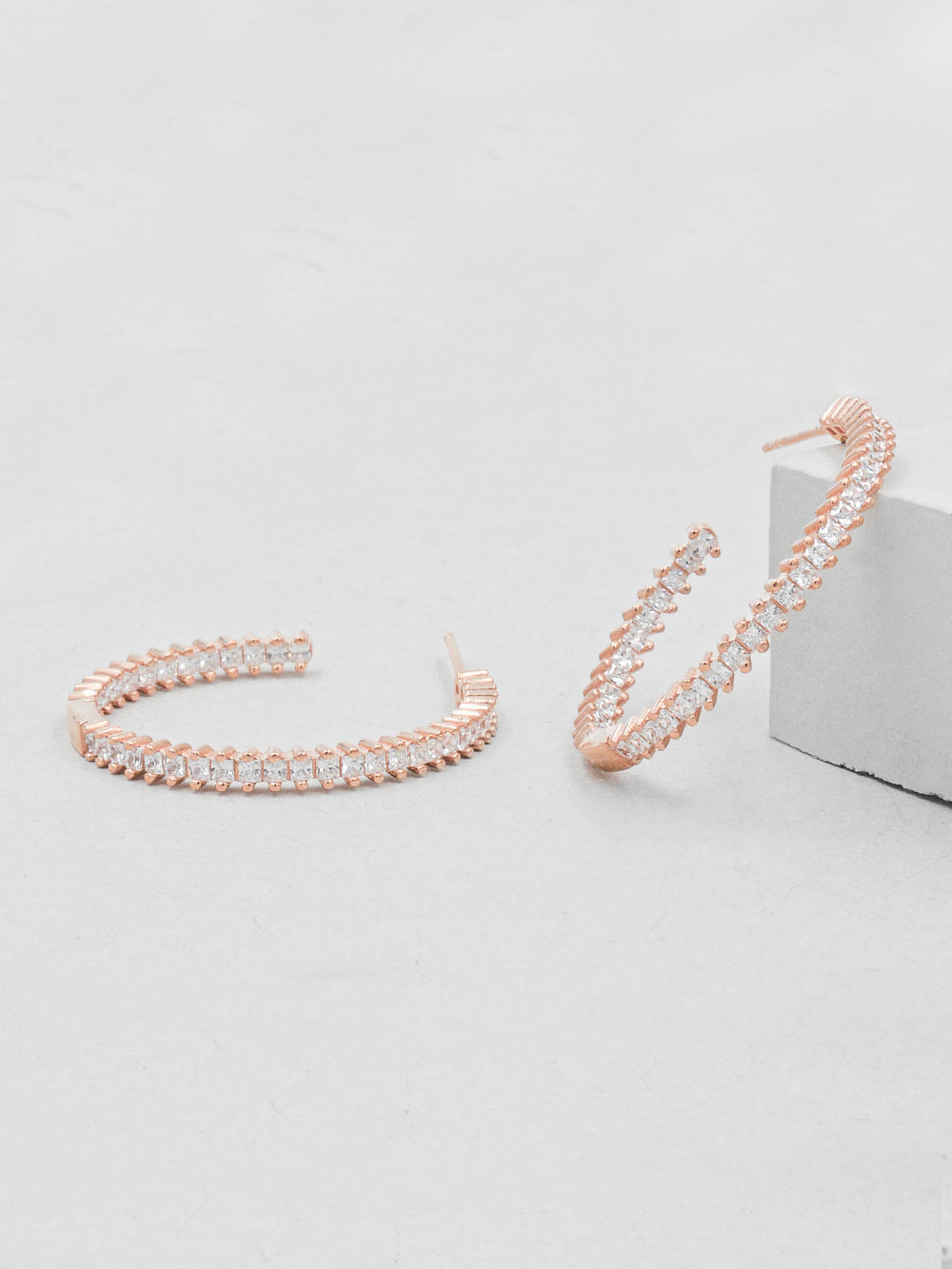 Rose Gold Plated Vertical baguette Hoops Earrings by The Faint Hearted Jewelry