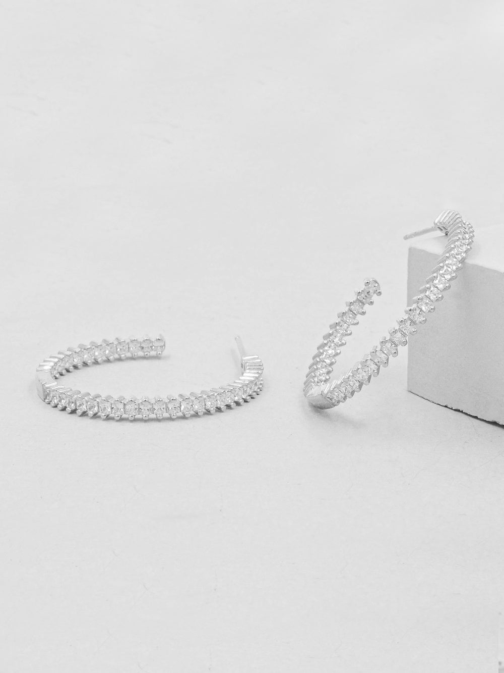 Rhodium Plated Baguette Hoop Earrings by The Faint Hearted Jewelry