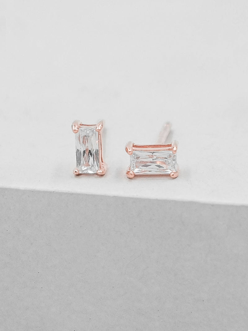 Rose Gold Plated Mini White Baguette Stud Earrings by the Faint Hearted Jewelry