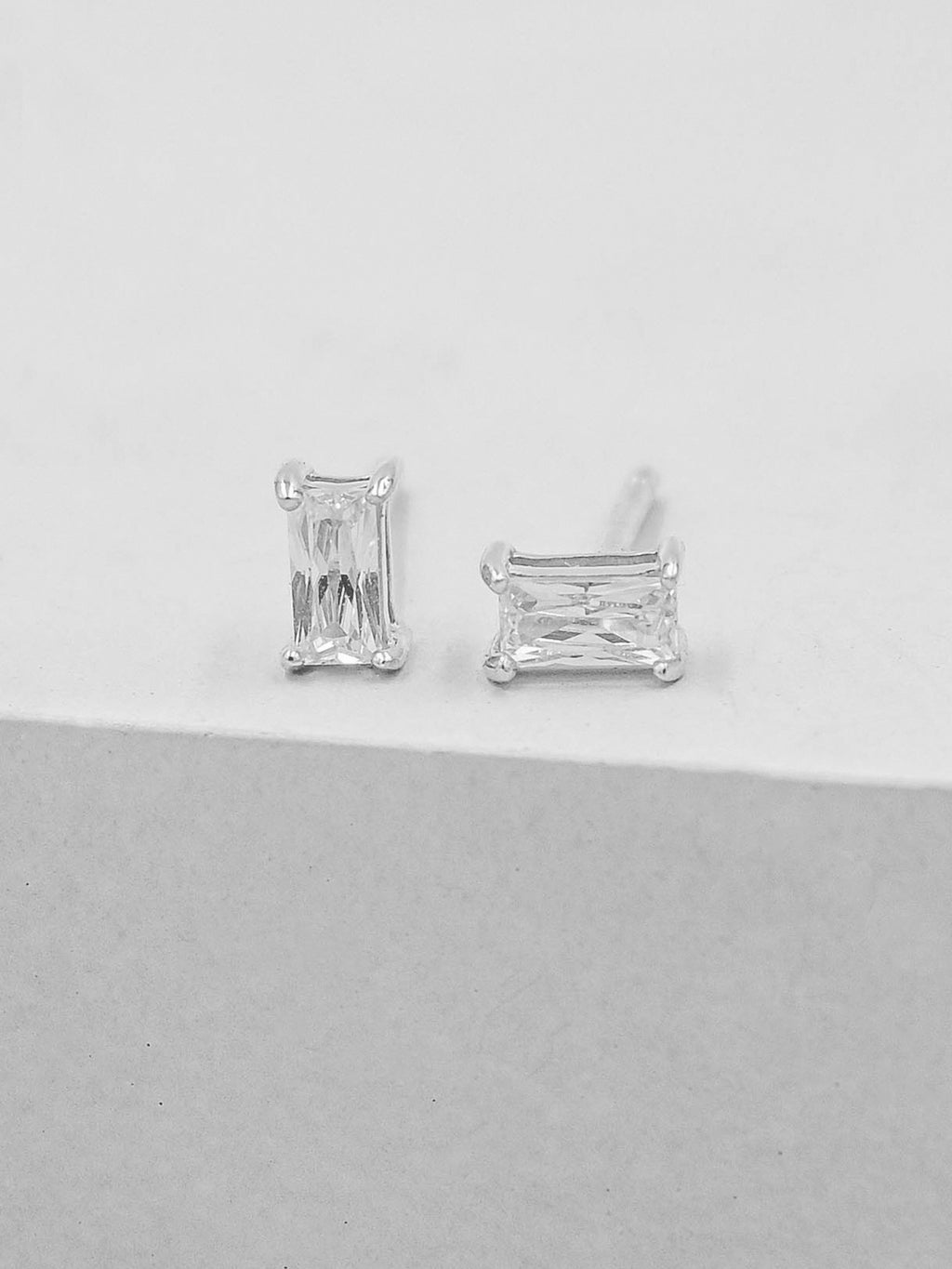 Silver Baguette CZ stones prong  style Stud Earrings by the Faint Hearted Jewelry
