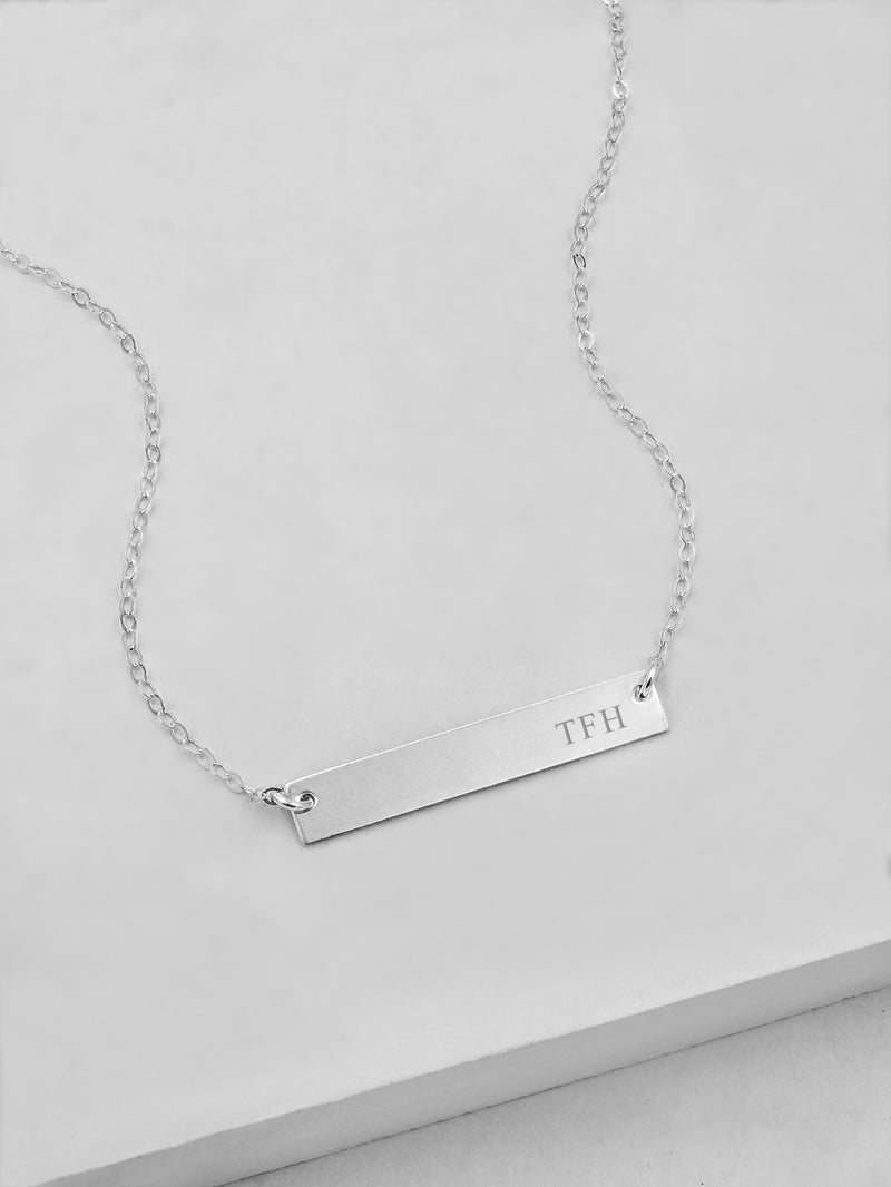 Engraved Horizontal Bar Necklace