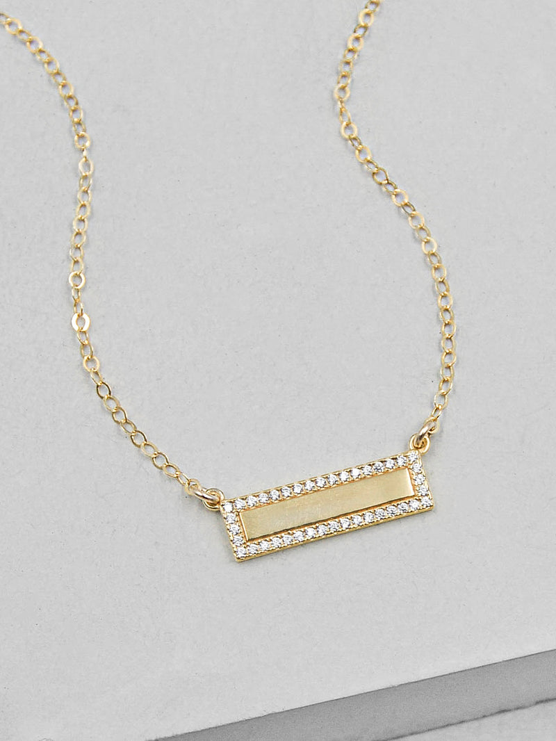 Plain Sparkle CZ Bar Gold Plated Necklace by The Faint Hearted Jewelry