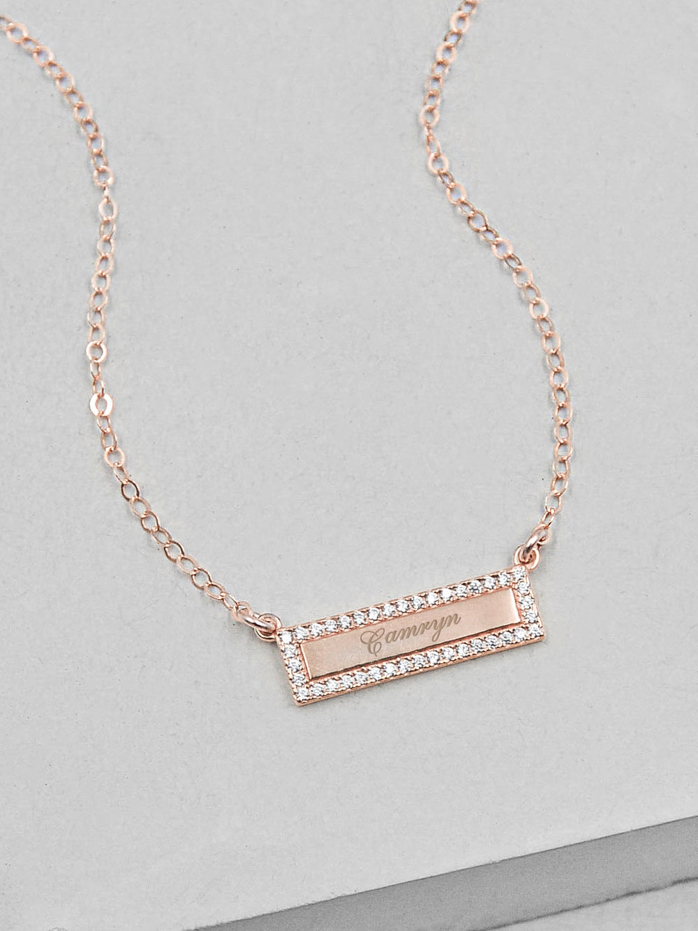 Engraved Sparkle Bar Rose Gold Necklace by The Faint Hearted Jewelry