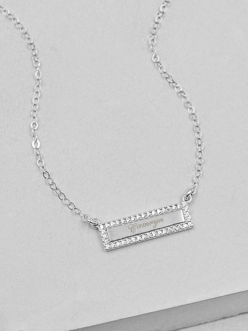 Engraved Silver Sparkle Bar Necklace by The Faint Hearted Jewelry