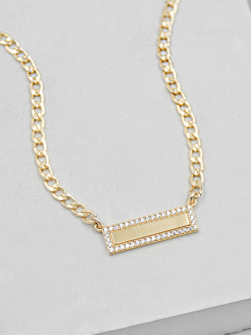 CZ Bar Charm Curb Chain Necklace  by The Faint Hearted Jewelry