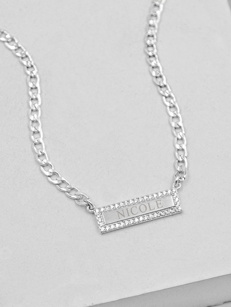 Silver Bar Charm in Curb Chain Necklace  by The Faint Hearted Jewelry