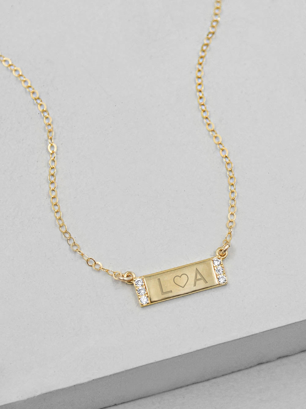Mini Sparkle Bar Gold  Necklace by The Faint Hearted Jewelry