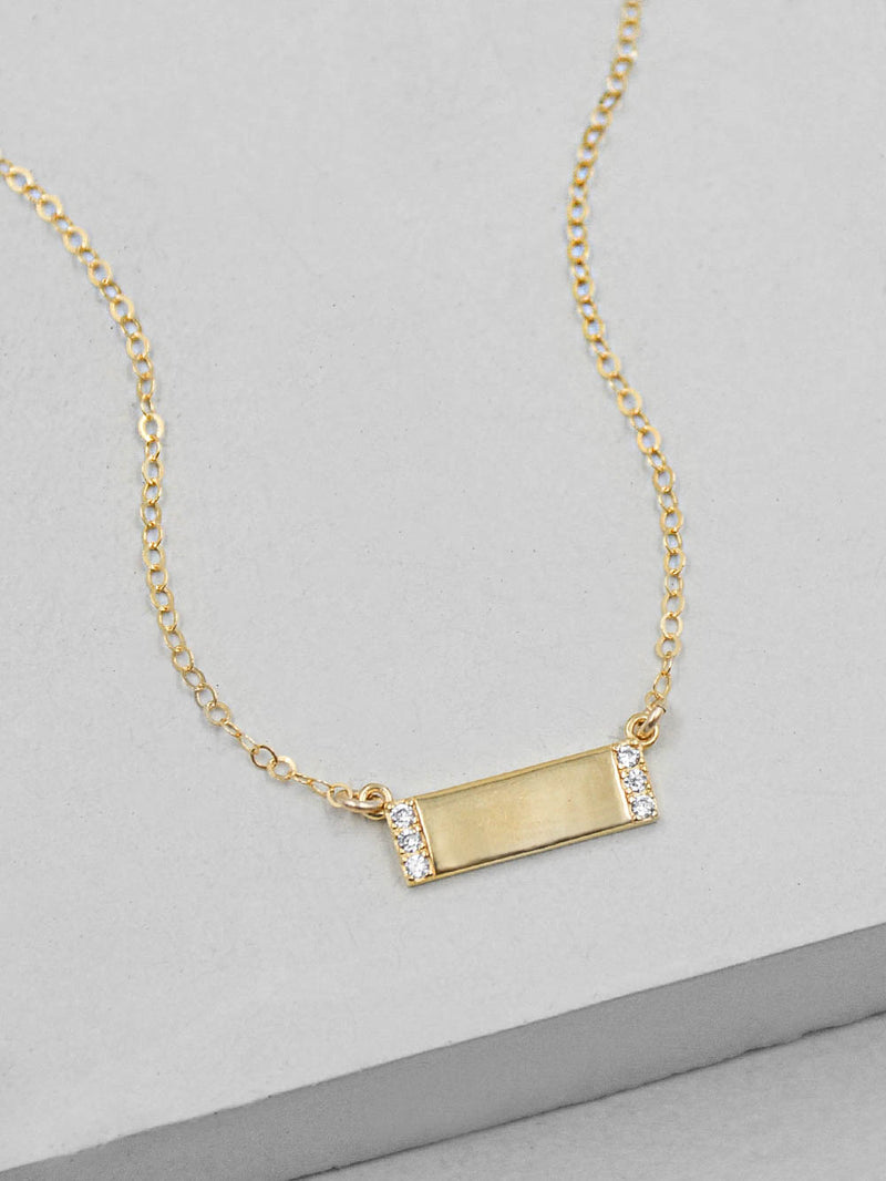 Plain Small Bar Gold  Necklace by The Faint Hearted Jewelry