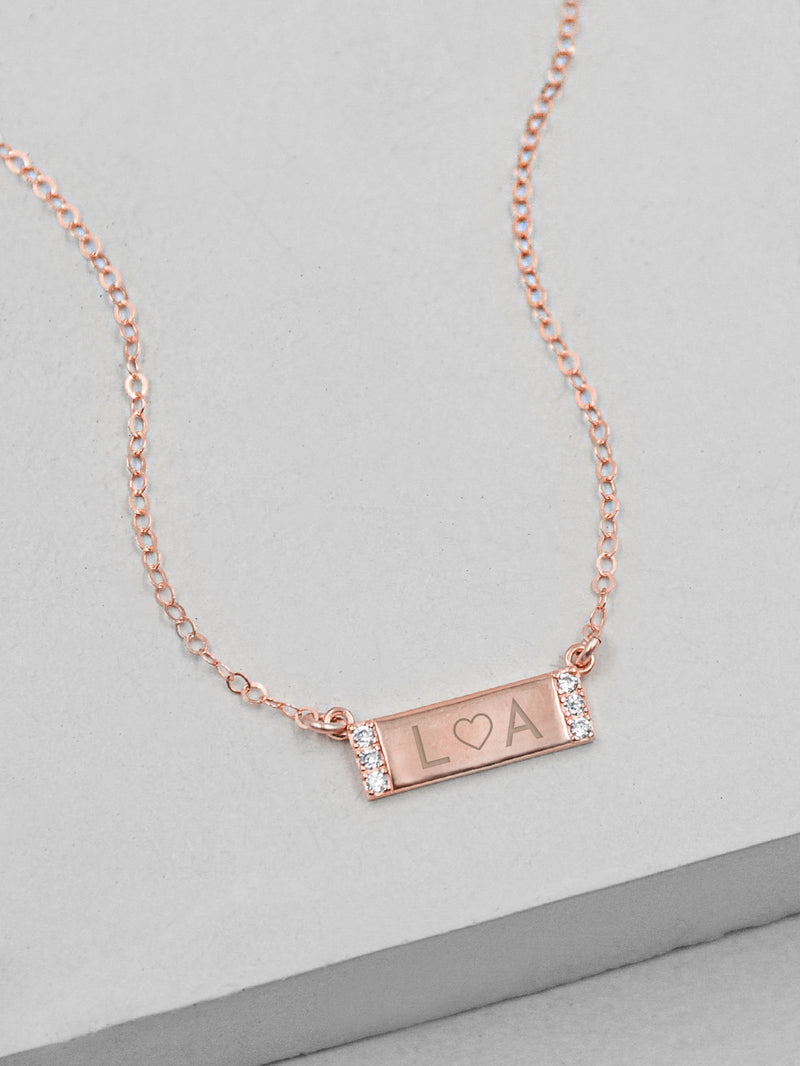 Engraved Mini Sparkle Bar Rose Gold Necklace by The Faint Hearted Jewelry