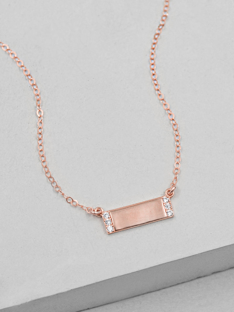 Rose Gold Mini Sparkle CZ Bar Necklace by The Faint Hearted Jewelry