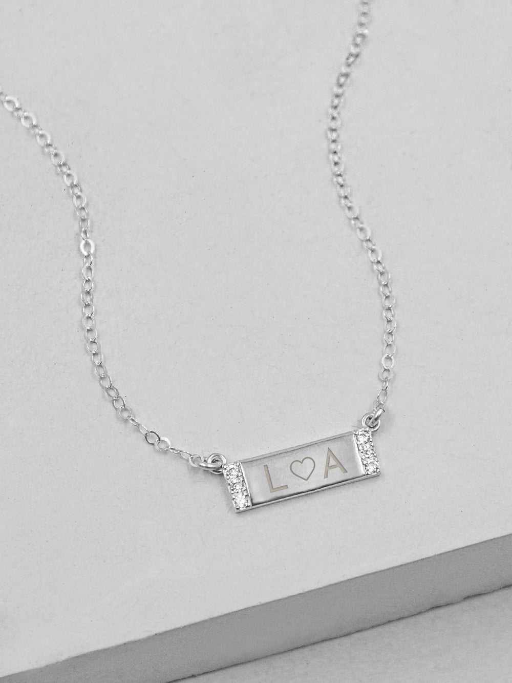 Silver Sparkle Mini CZ Bar Engraved Necklace by The Faint Hearted Jewelry