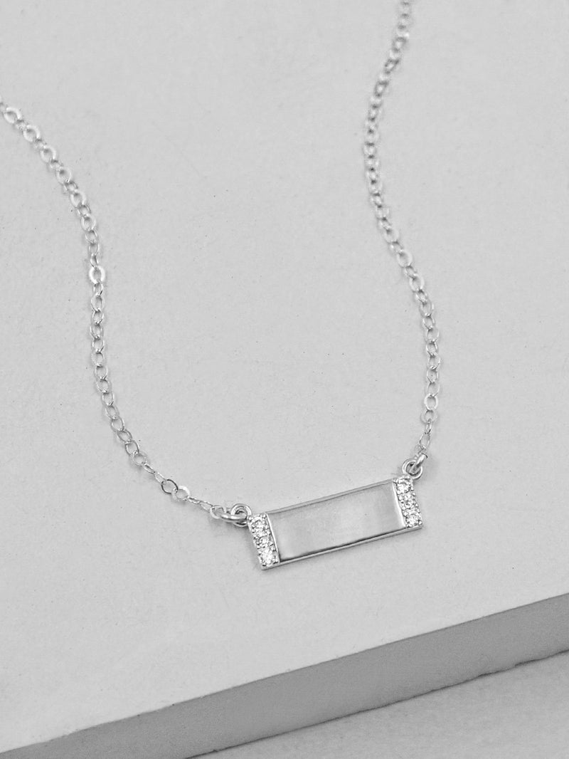 Plain Mini CZ Bar Silver Necklace by The Faint Hearted Jewelry