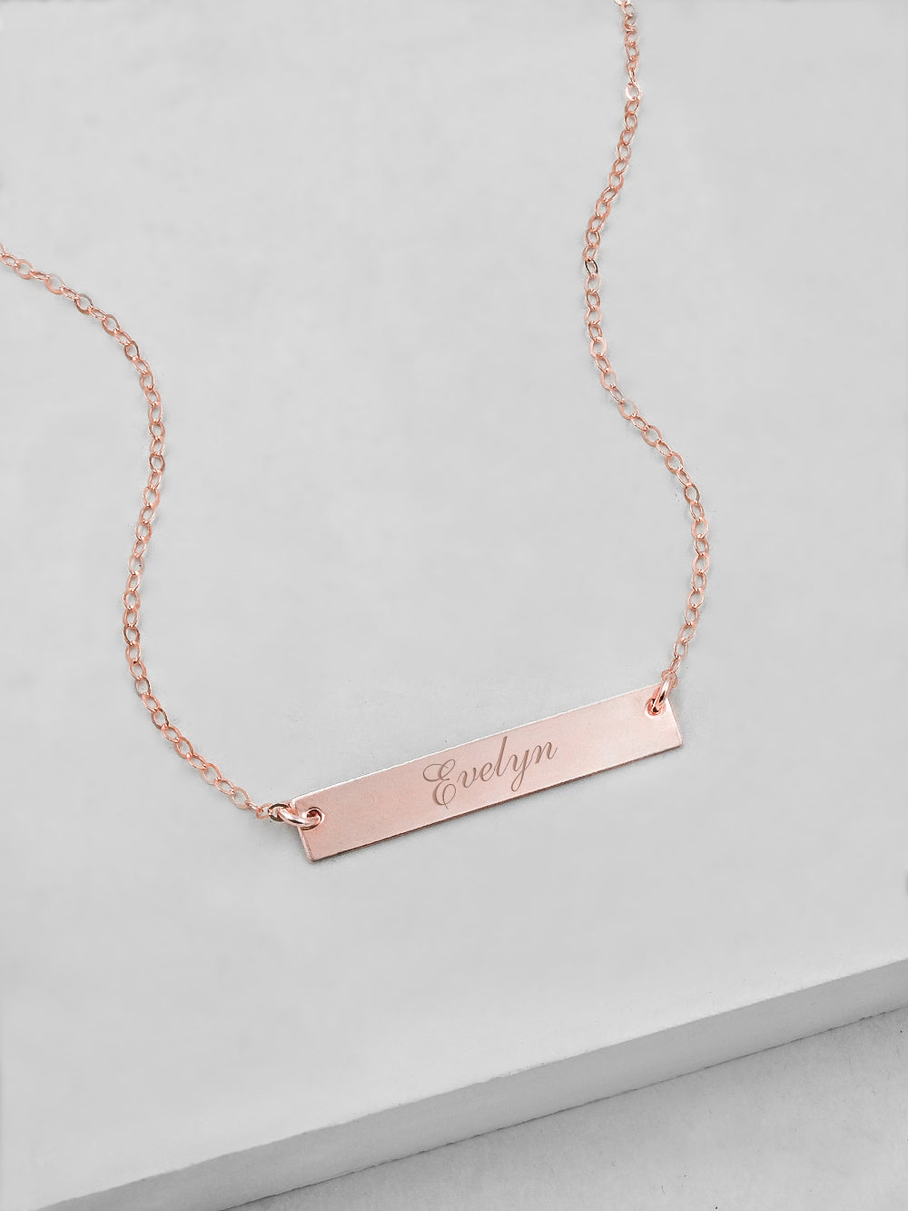 Horizontal Bar Rose Gold Filled Necklace by The Faint Hearted Jewelry