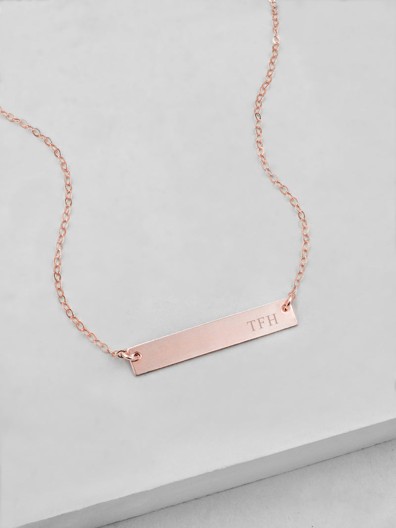 Custom Name Rose Gold Bar Necklace by The Faint Hearted Jewelry