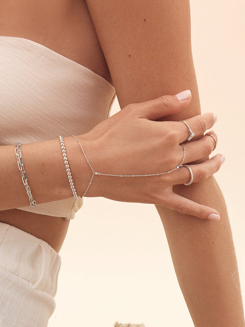 Diamond Cut Handchain - Silver