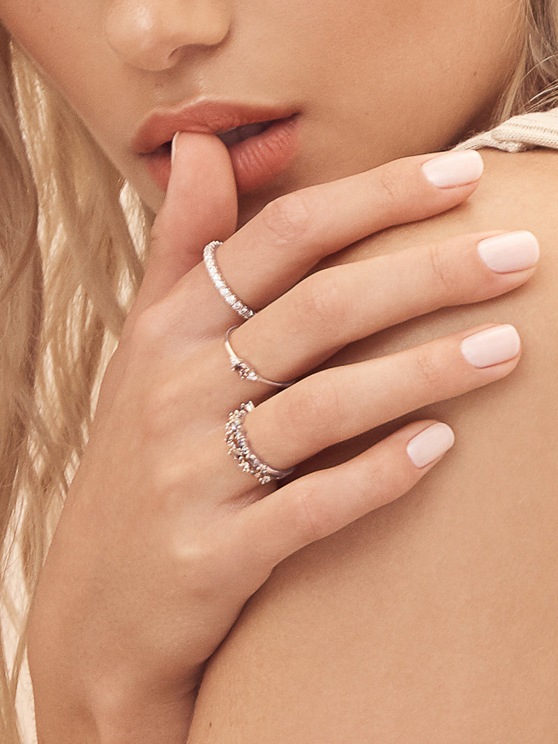 Rhodium Plated Brass Dainty Stackable Ring with Pink CZ by The Faint Hearted Jewelry