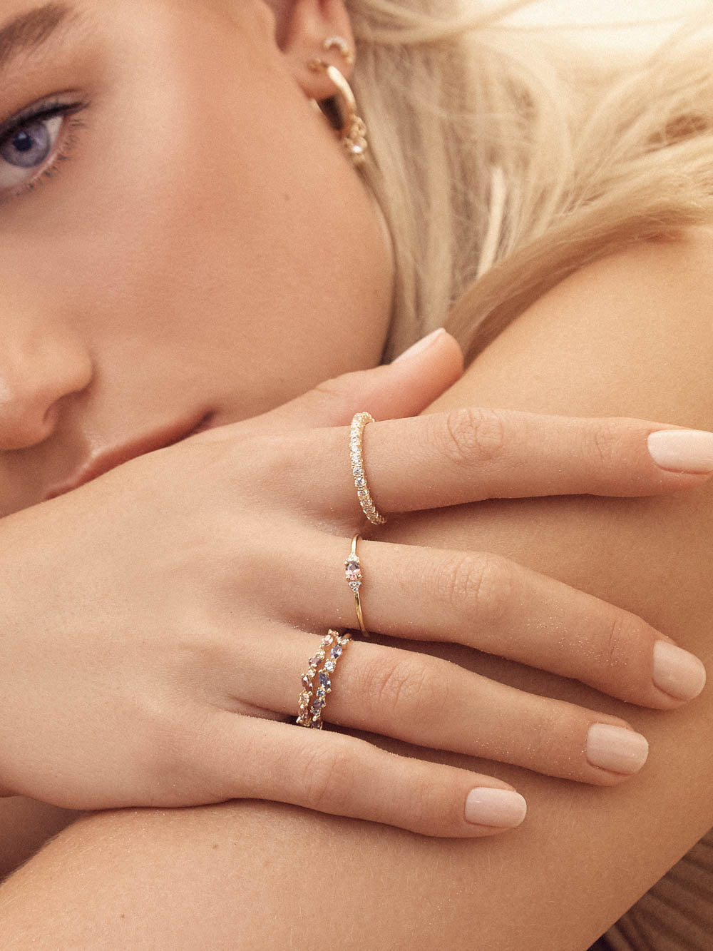 Minimalist Dainty Style Oval Shape with Accent CZ Ring by The Faint Hearted Jewelry