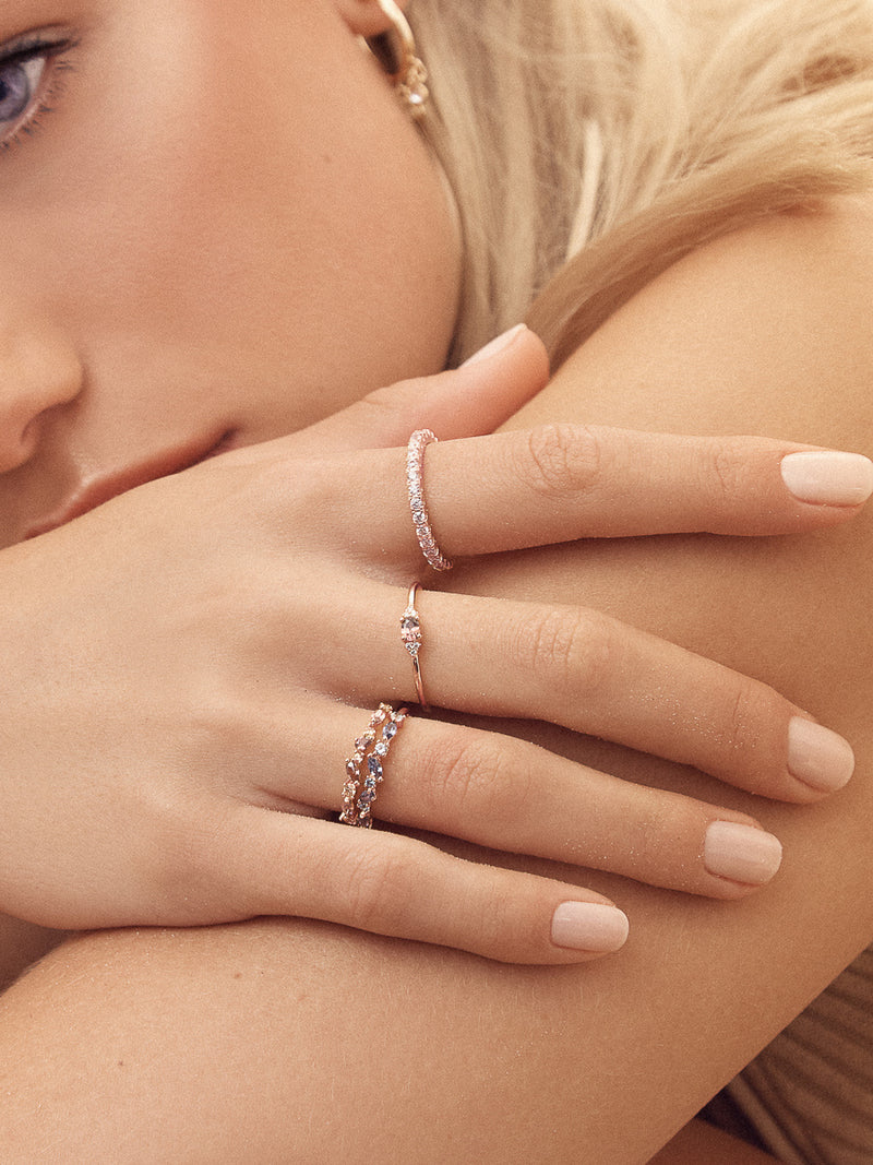 Rose Gold Cluster design Dainty Stackable Ring by The Faint Hearted Jewelry