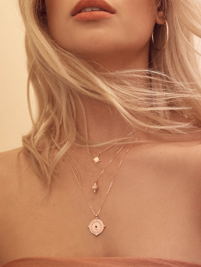 CZ Rose Gold Antique Coin Necklace  by The Faint Hearted Jewelry
