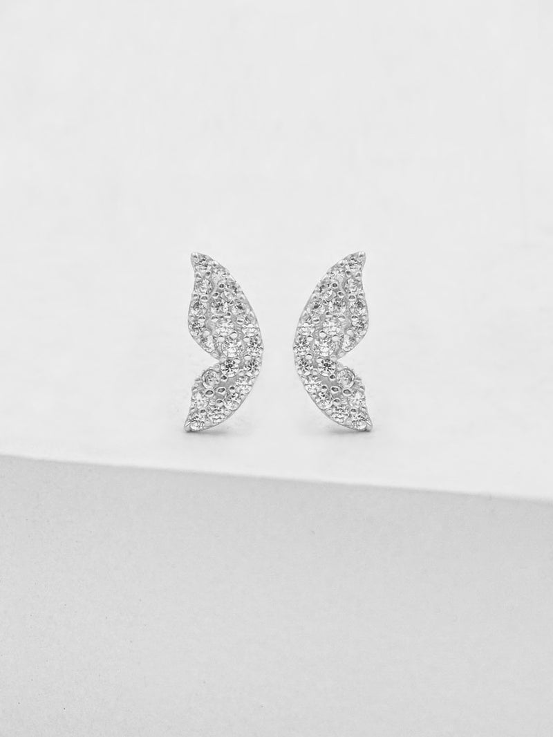 Butterfly Wing Studs - Silver