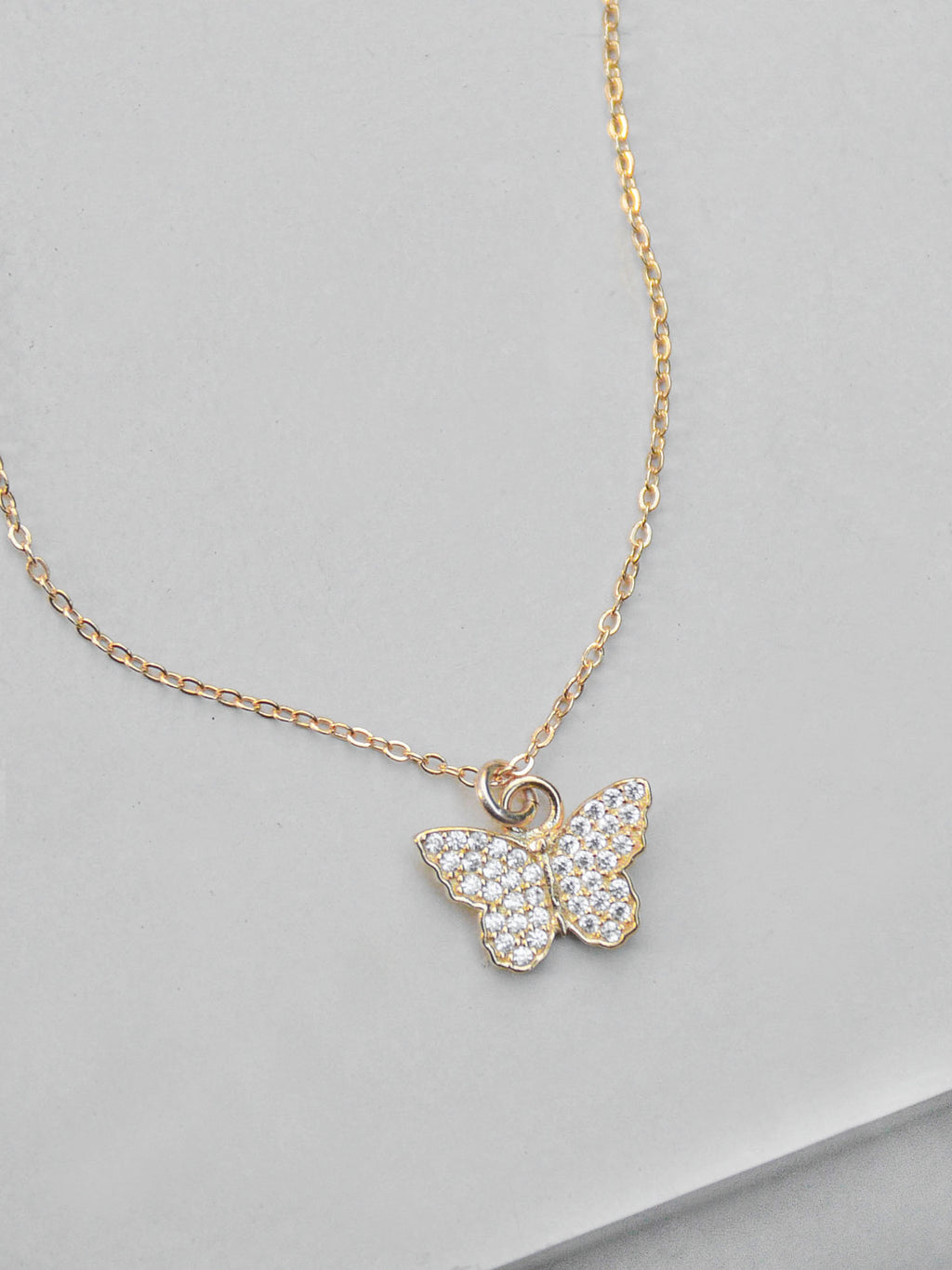 Butterfly CZ Necklace - Gold