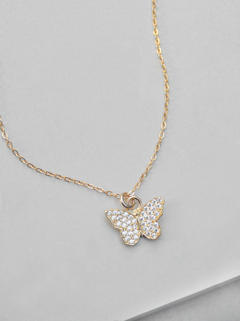 Gold Butterfly CZ Necklace by The Faint Hearted Jewelry