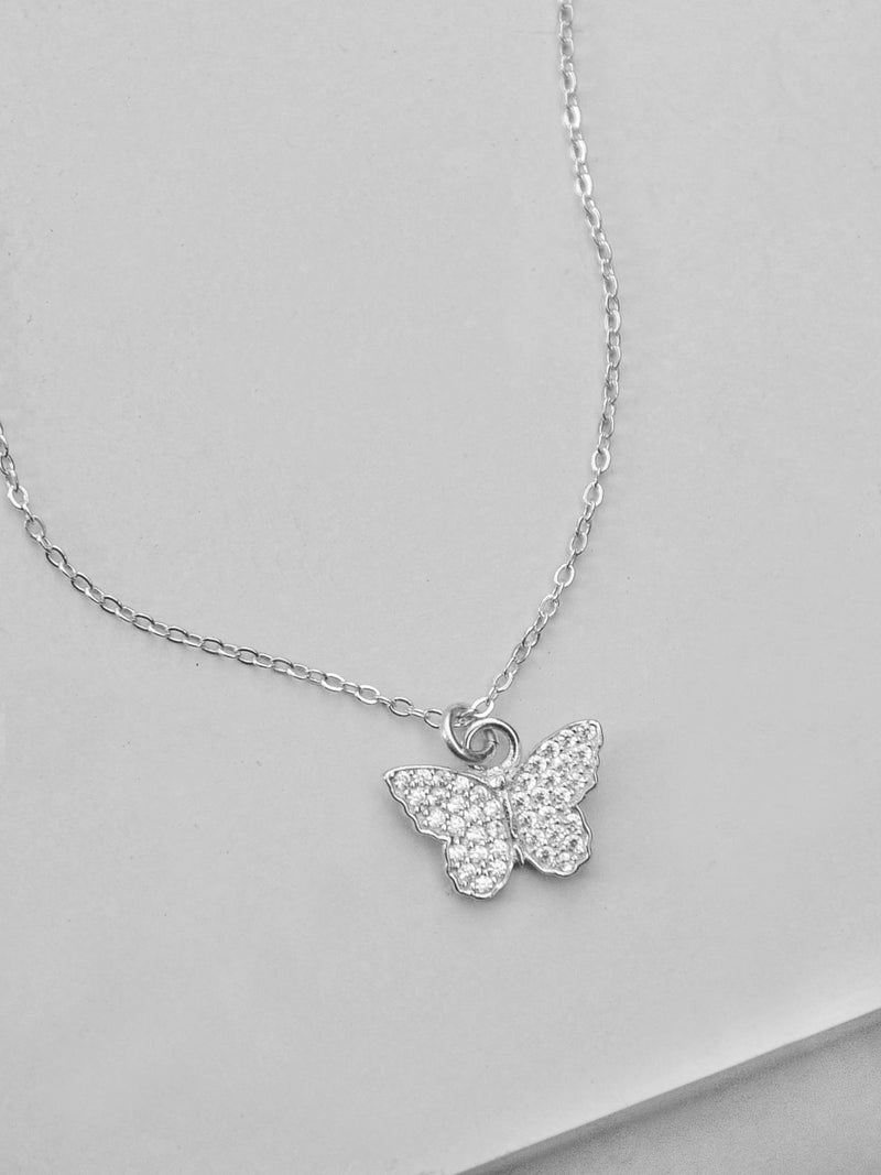 Sterling Silver CZ Butterfly Necklace  by The Faint Hearted Jewelry