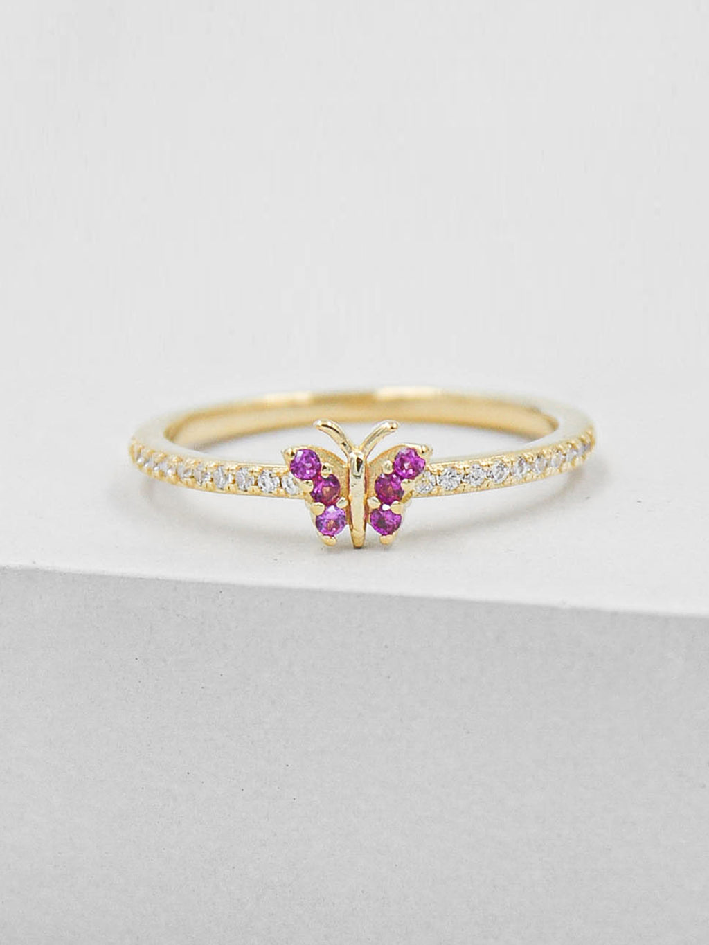 Gold Plated Butterfly Design Ring with Pink and White CZ by The Faint Hearted Jewelry