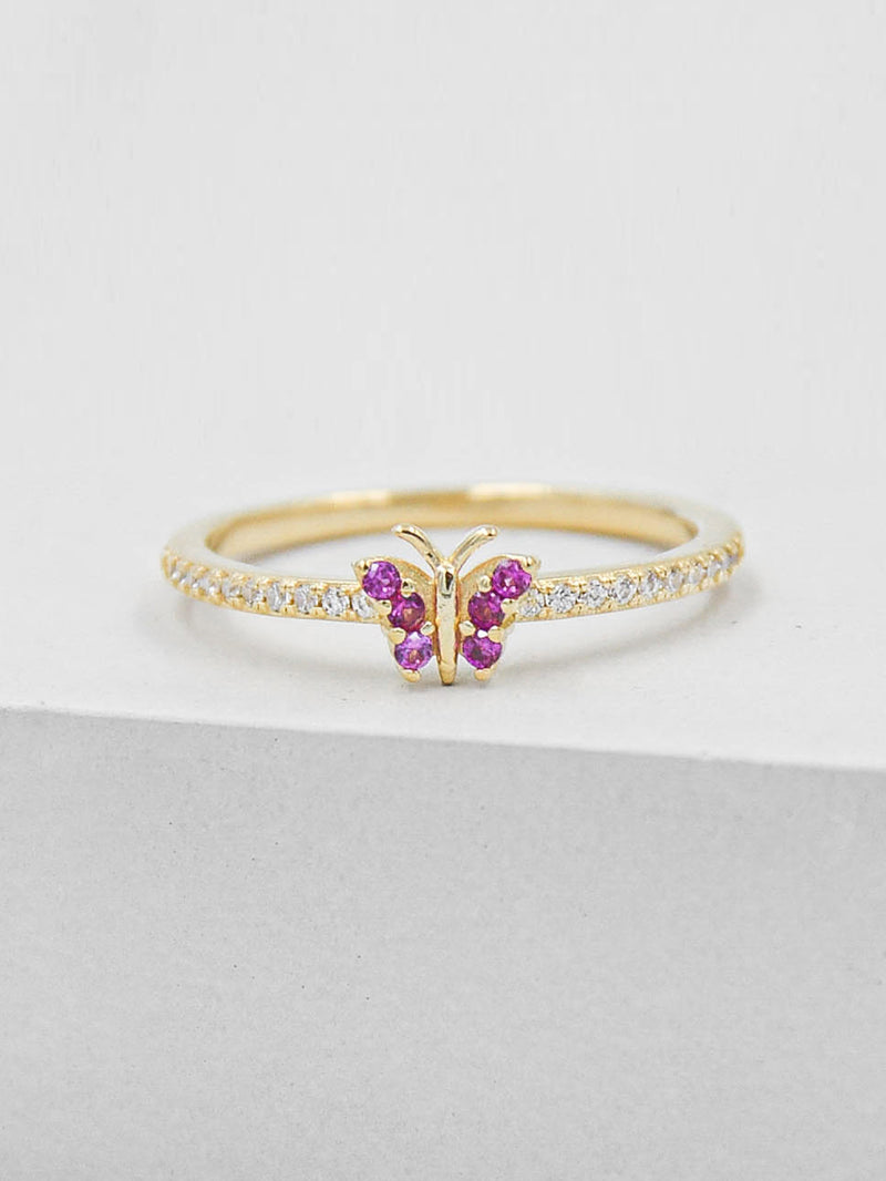 Butterfly Ring - Gold + Ruby