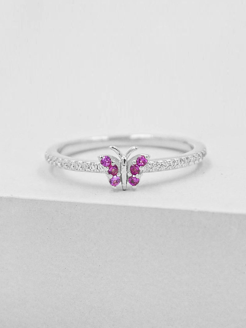 Rhodium Plated Butterfly Design Ring with White and Pink CZ by The Faint Hearted Jewelry