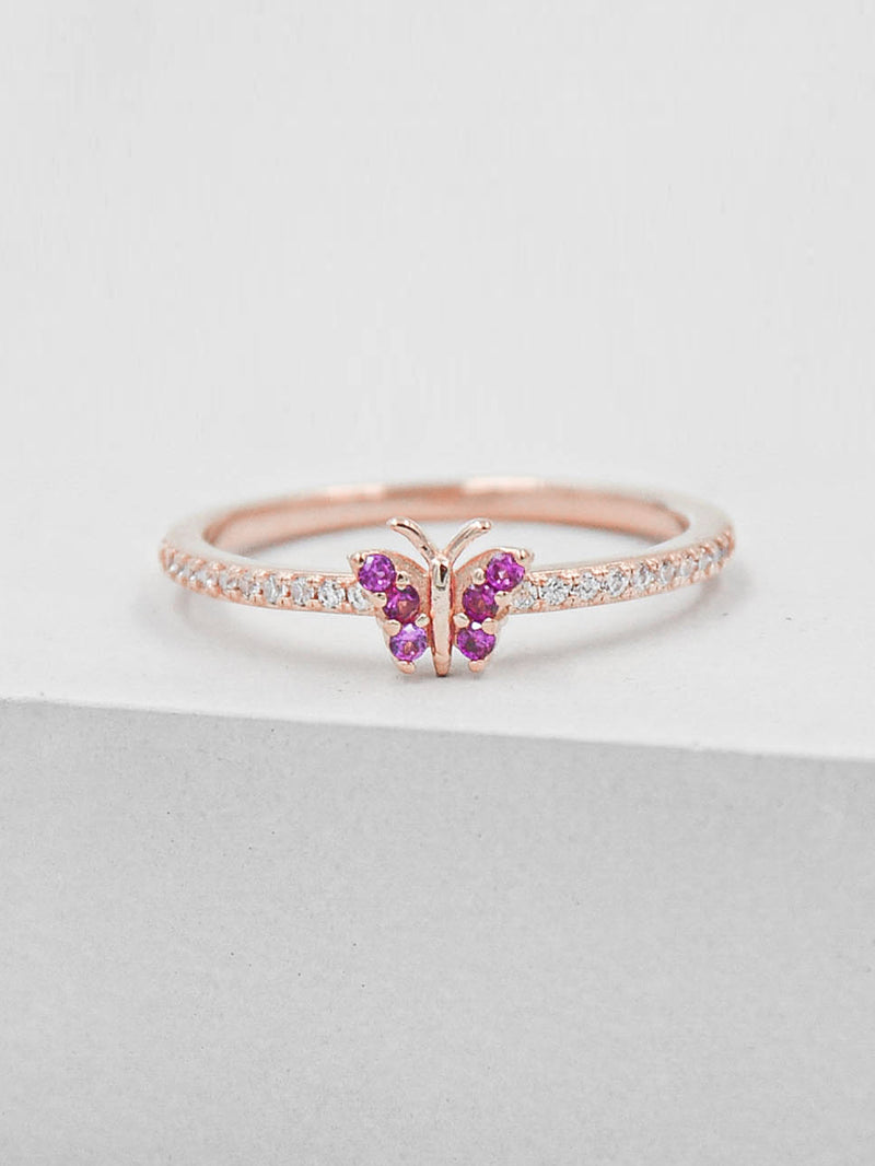 Rose Gold Plated Butterfly Design Ring with White and Pink CZ by The Faint Hearted Jewelry