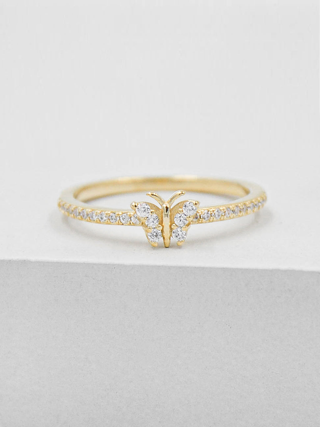 Gold Plated Butterfly Design Ring with White CZ by The Faint Hearted Jewelry