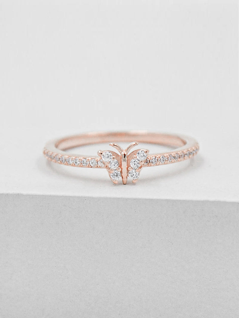 Rose Gold Plated Butterfly Design Ring with White CZ by The Faint Hearted Jewelry