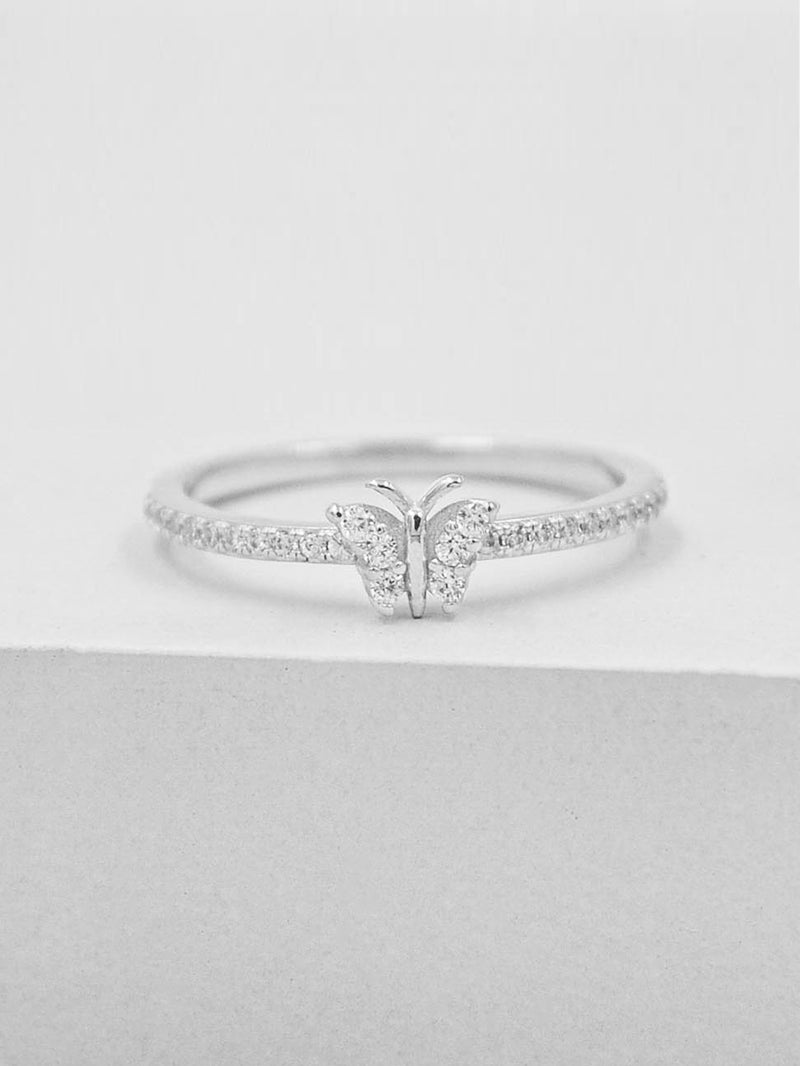 Rhodium Plated Butterfly Design Ring with White CZ by The Faint Hearted Jewelry
