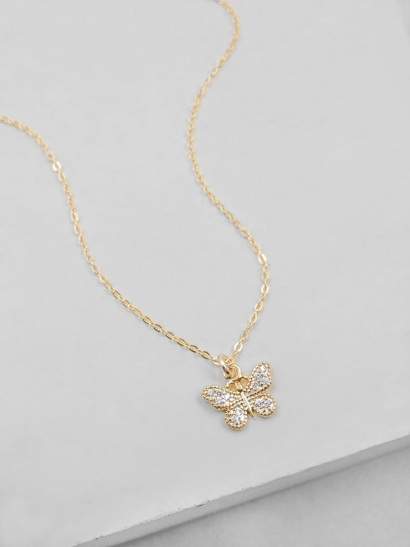 Small Butterfly CZ Charm Gold  Necklace by The Faint Hearted Jewelry