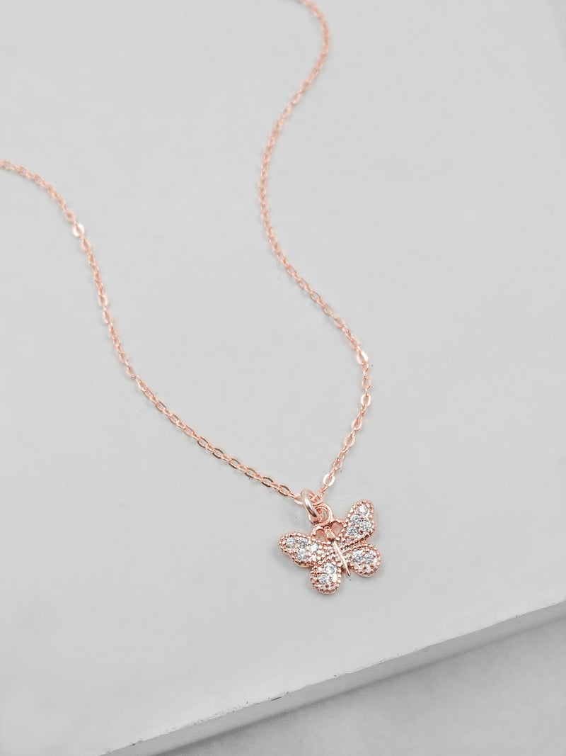 Small Butterfly CZ Charm Rose Gold  Necklace by The Faint Hearted Jewelry