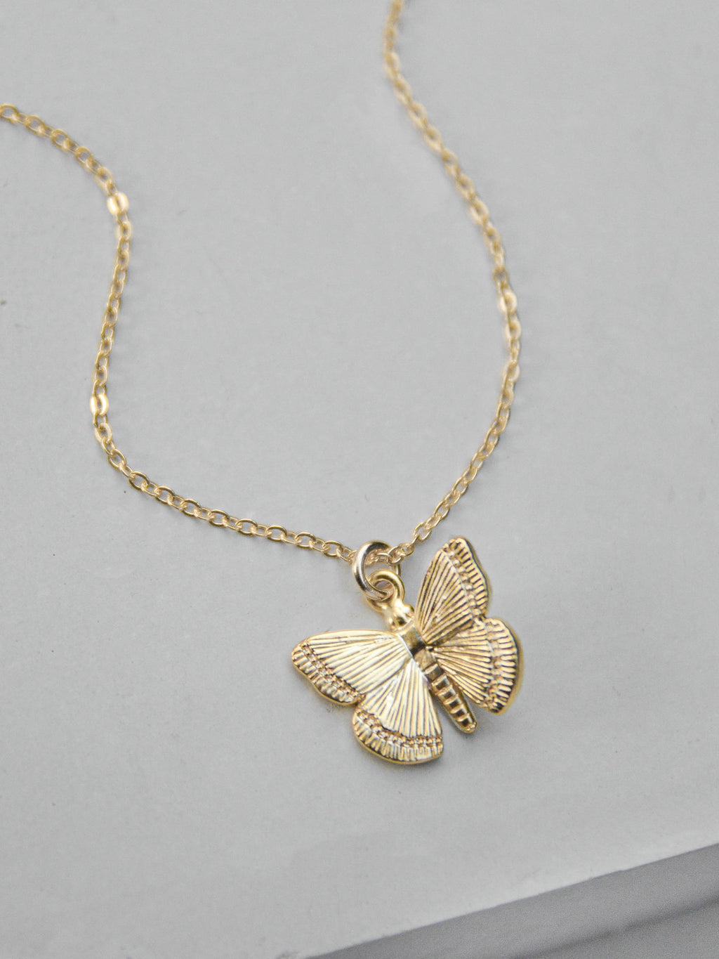 Gold Butterfly  Necklace by The Faint Hearted Jewelry