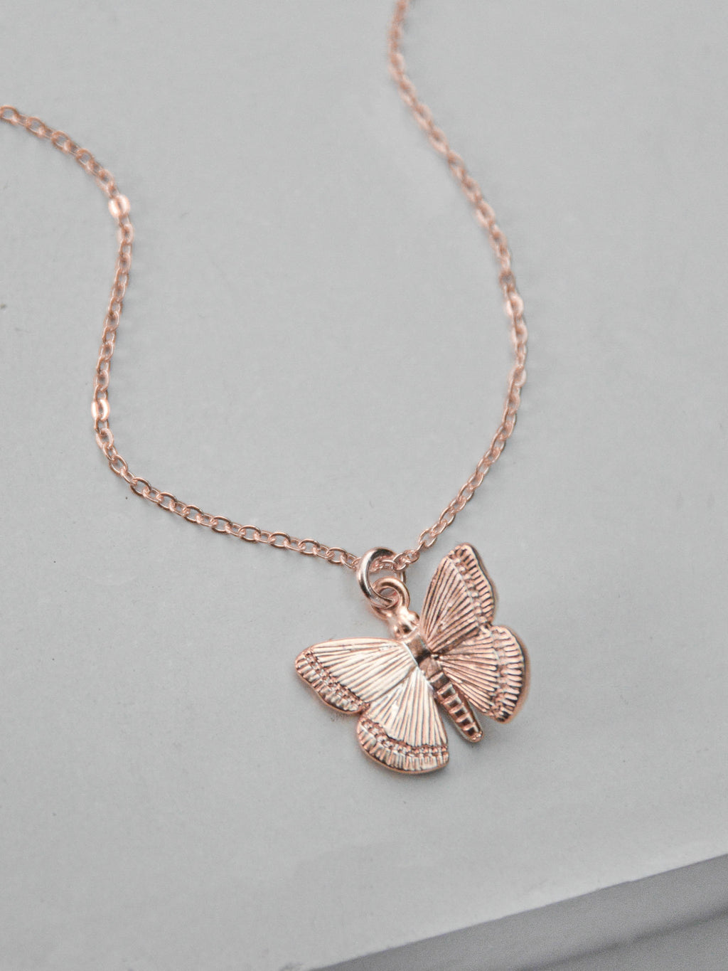 Rose Gold Butterfly  Charm in Gold filled Necklace by The Faint Hearted Jewelry