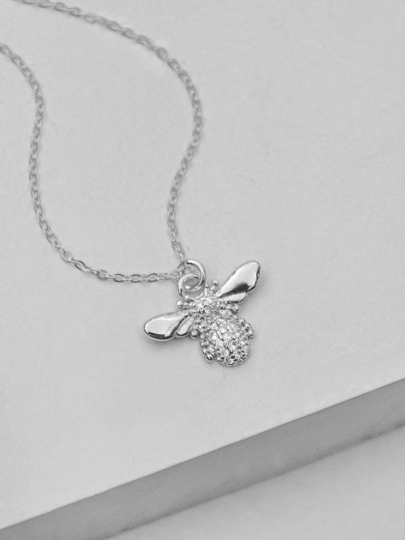 Silver CZ Bumblebee Necklace by The Faint Hearted Jewelry