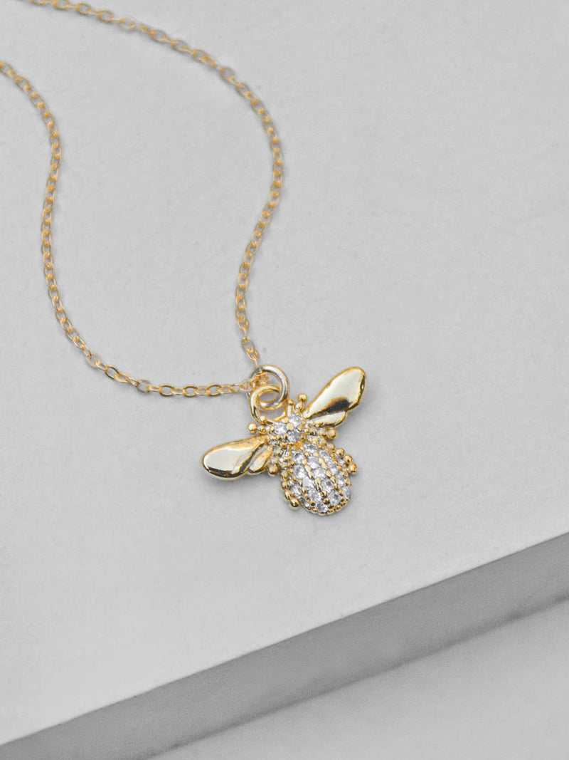 Gold CZ Bumblebee Necklace by The Faint Hearted Jewelry