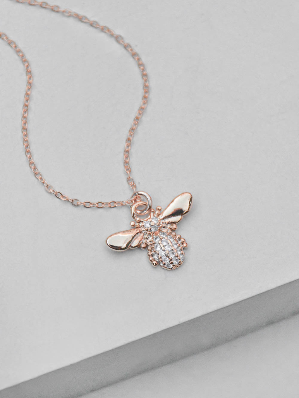 Rose Gold CZ Bumblebee Necklace by The Faint Hearted Jewelry