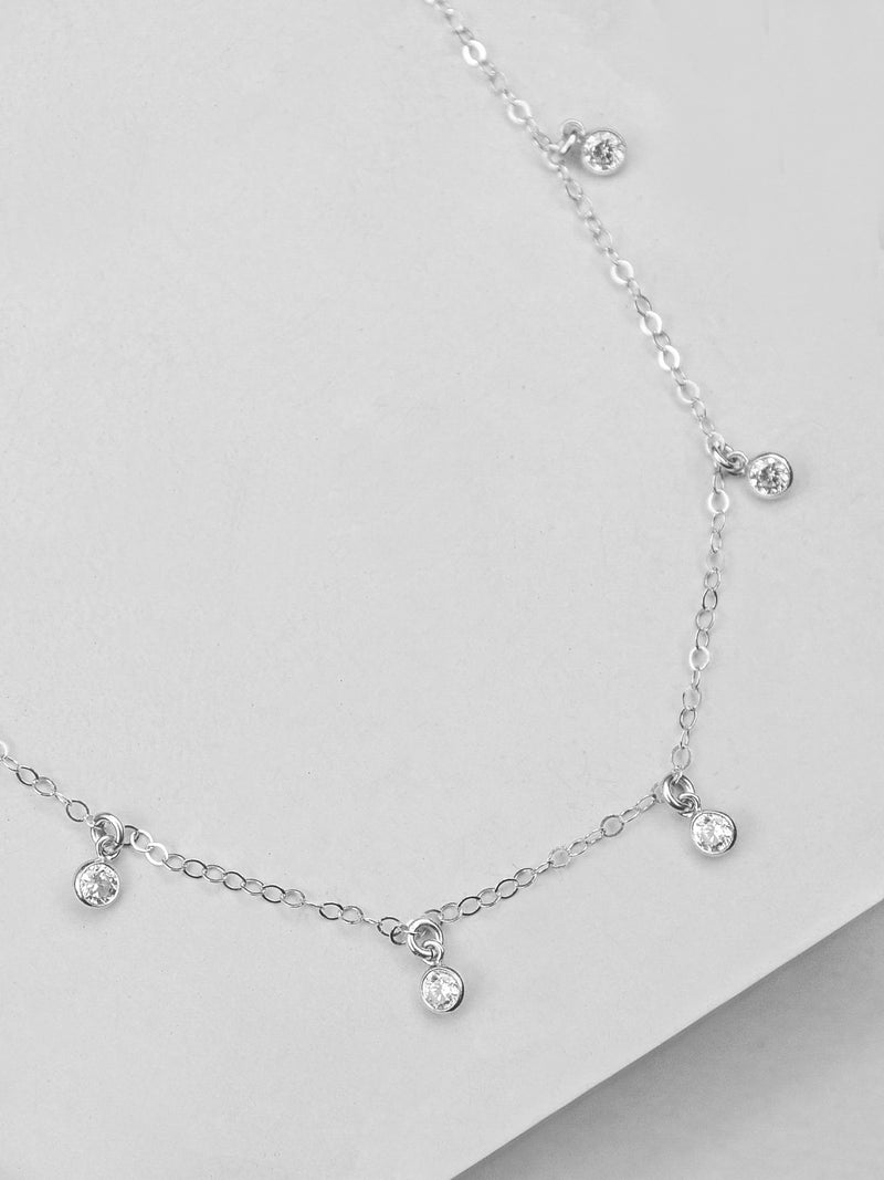 Silver CZ Necklace by The Faint Hearted Jewelry