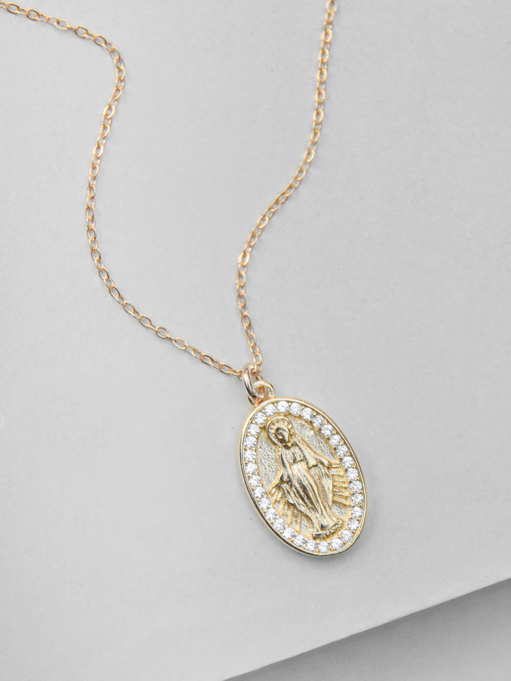 Gold Plated Mary Charm  Necklace by The Faint Hearted Jewelry